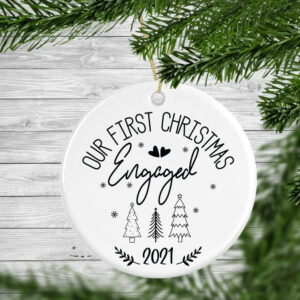 Our First Christmas Engaged Personalised Christmas Tree Decoration Bauble